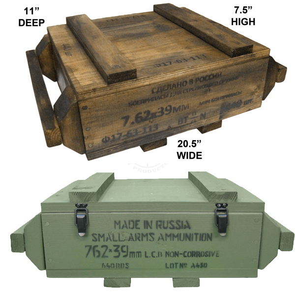 7.62 x 39 Ammo Crate (Empty, Natural Wood or Olive Drab)