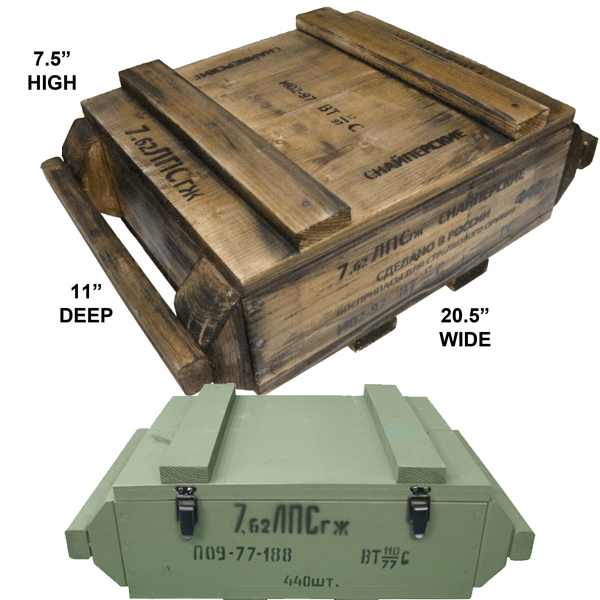 7.62 x 54R Ammo Crate (Empty, Natural Wood or Olive Drab)