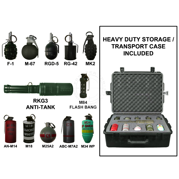 Grenade Training Kit (With Case) - Inert Replica Training Aids