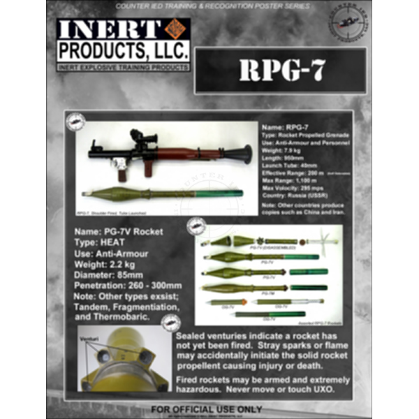 CIED Ordnance Recognition Poster Poster Series - RPG-7 Rocket Launcher
