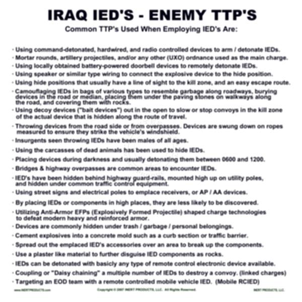 Iraqi Improvised Explosive Devices TTPs Poster