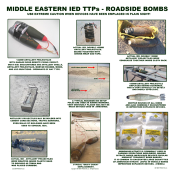 Middle Eastern IED TTPs - Roadside Bombs Poster
