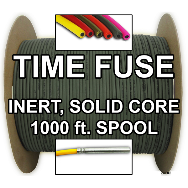 Time Fuse (Solid Core) - 1000 ft Spool (Olive Drab) - Inert Training Aid