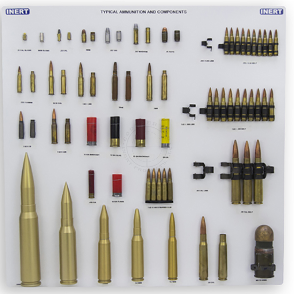 """Typical Ammunition and Components Display Board (24"""" x 24"""")"""