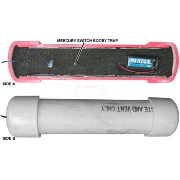 PVC Pipe Bomb Booby Trap Cutaway, Medium (Functional w/ Buzzer) - Inert Replica Training Aid